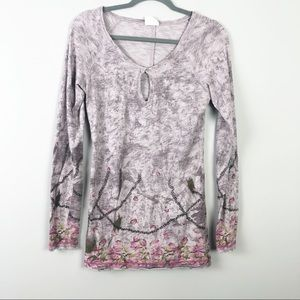 Free People | Floral Keyhole Top